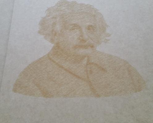 V Carve photo Engraving. Photo of Einstein Cut into MDF with a fine engraving tool.