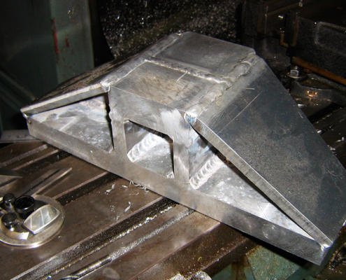 Fabricated 5083 Aluminium component CNC machined by Routers Australia, Perth