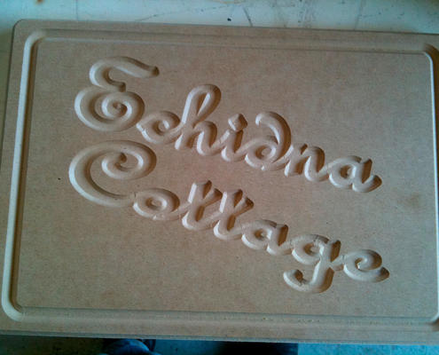 Engraved sign on MDF CNC routed by Routers Australia, Perth
