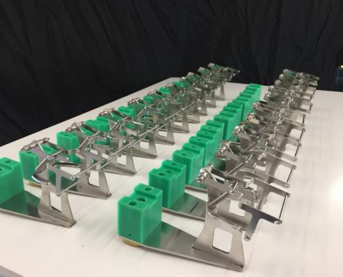 Crucible holders used in analytical laboratories for cleaning Platinum crucibles, manufactured by Routers Australia.