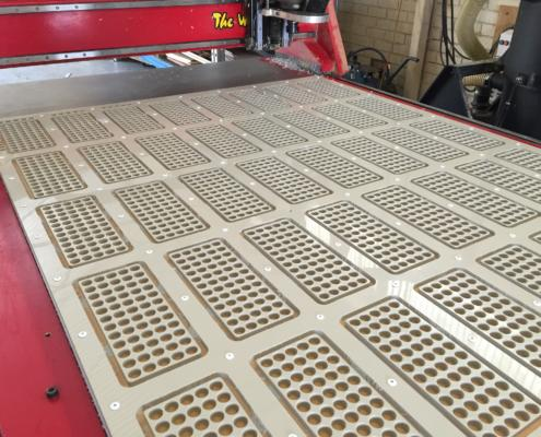 Polypropylene test tube locator plates CNC Routed by Routers Australia