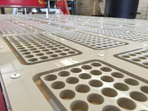 100 Plastic Test Tube holders being manufactured by Routers Australia
