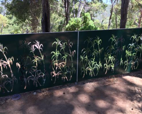 Perfectly complimenting the natural bush setting; these Outdoor Aluminium Composite Screens are designed and cut by Routers Australia.