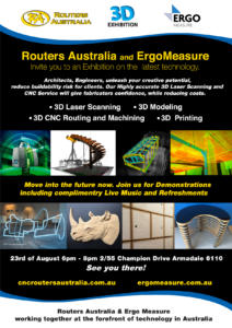 Invitation poster for Routers Australia & ErgoMeasure's 2017 Show