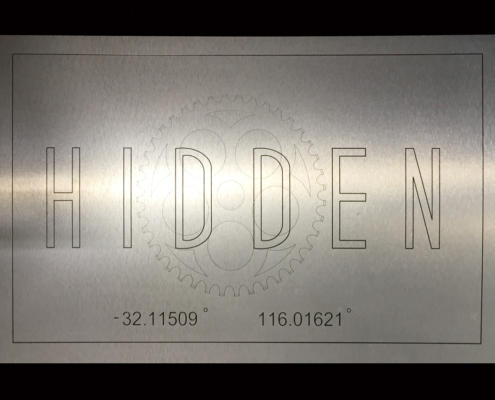 CNC cutting Sign for Hidden Coffee Shop in Kelmscott, WA. Cut from brushed stainless ACM by Routers Australia