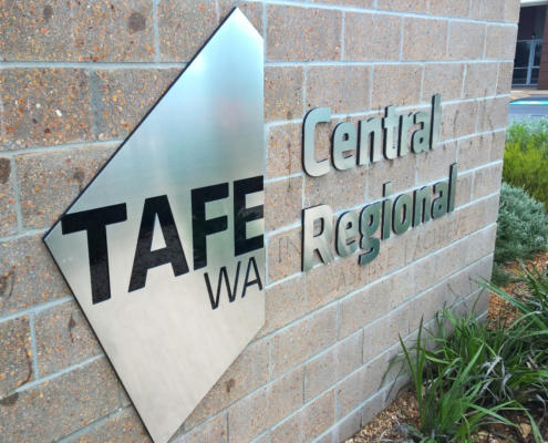 CNC-engraved Aluminium sign for TAFE WA. 3 mm-deep recessed, paint-filled letters. Sign engraving by Routers Australia