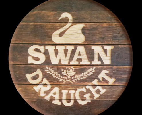 Copy of original Swan Beer barrel top. CNC engraving on solid wood by Routers Australia, Perth